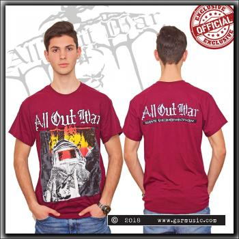 All Out War - Give Us Extinction - T Shirt Maroon