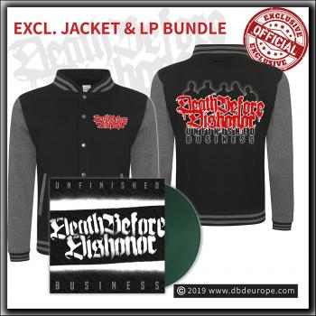 Death Before Dishonor - Unfinished Business - LP & Varsity Jacket bundle
