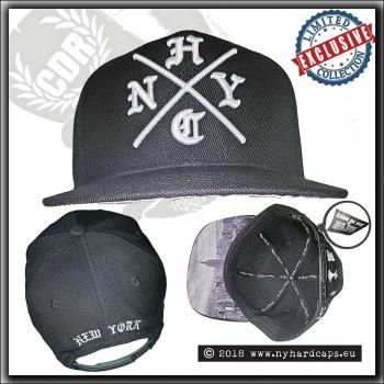 New York Hardcaps - NYHC cross and NYC skyline brim - White Embroidery
