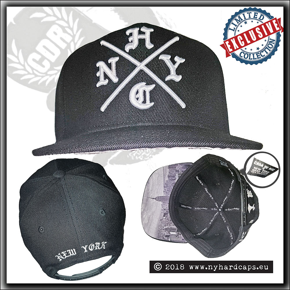 9972b009bc2 GSR Music - New York Hardcaps - NYHC cross and NYC skyline brim - White  Embroidery