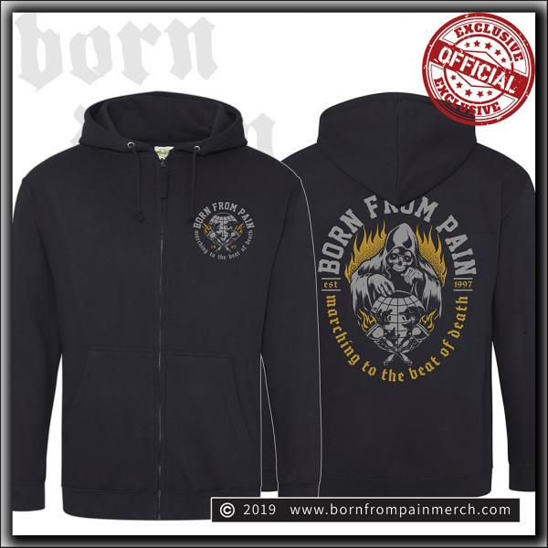 Born From Pain - Marching To The Beat Of Death - Hooded Zipper Black