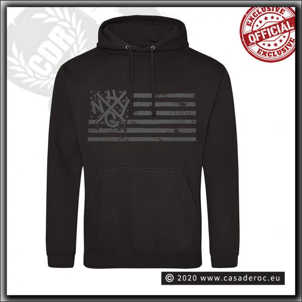 Casa De Roc - NYHC tag & flag - Hooded Sweater Black