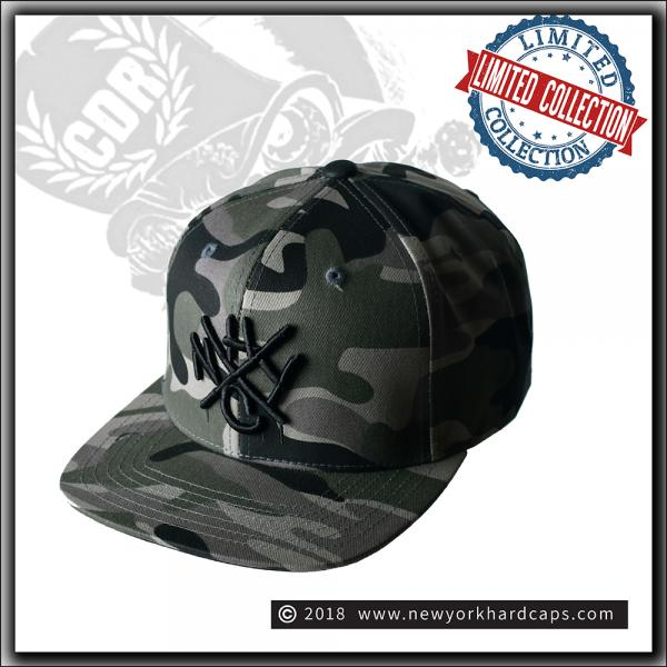 New York Hardcaps - NYHC tag on Camo - Black Embroidery