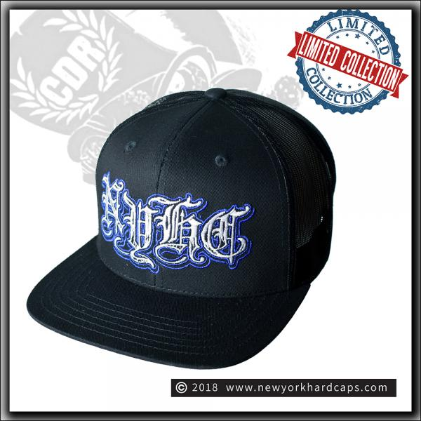 New York Hardcaps - NYHC in Old English Mesh Cap - White & Blue Embroidery